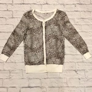 Halogen Black and White Animal Print Cardigan